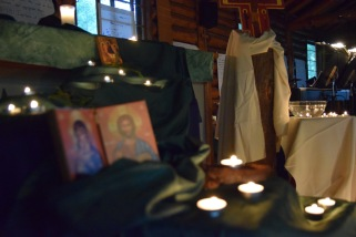 Environment for Taize Prayer was prepared by youth participants.